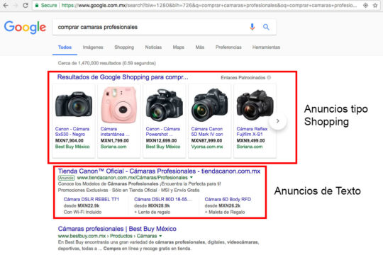 Google Adwords anuncios shopping y texto