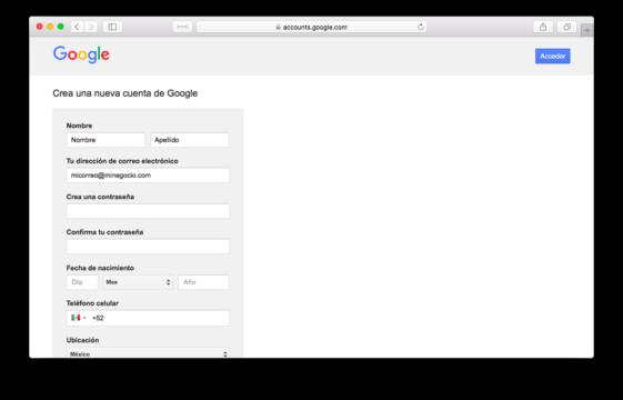 Creando una cuenta de Google para ingresar a AdWords