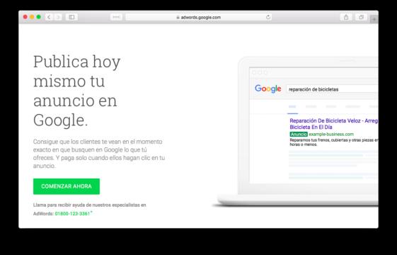 Comenzar ahora Google AdWords
