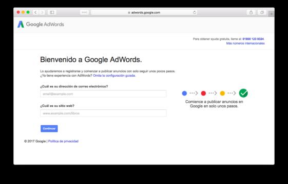 Pagina de Registro de Google AdWords